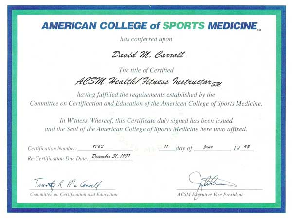 personal training: acsm personal training certification